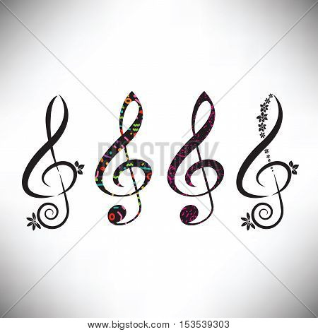 Choose from four assorted decorative G clefs in this music graphic