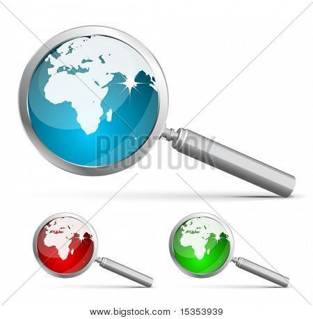 Earth inside magnifying glass