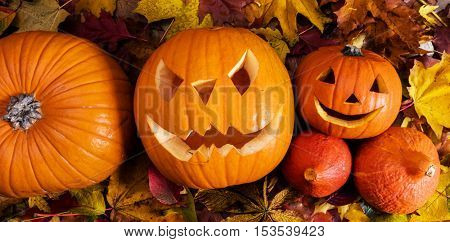Halloween pumpkins, carved jack-o-lantern in fall leaves. View from above.