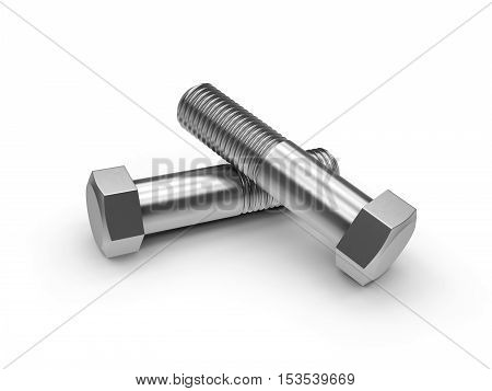 3D visualization of the bolts on white background
