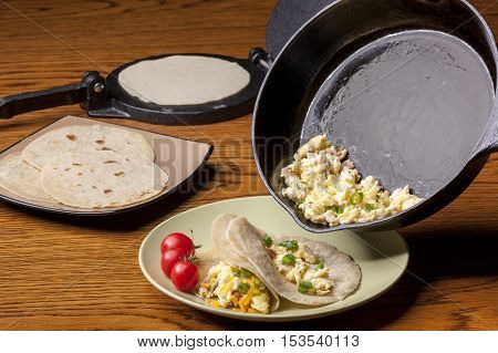 Home made breakfast burrito with hand made flour tortillas.