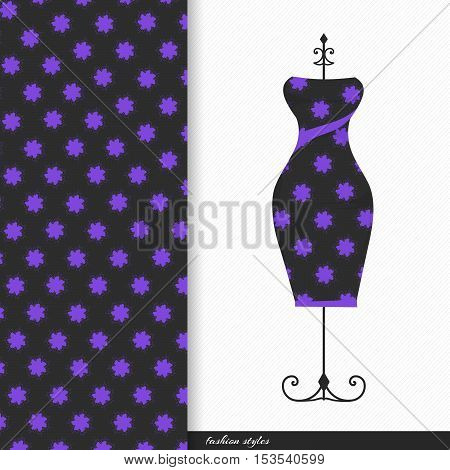 Vector illustration of fashionable women's dresses on the hanger with seamless floral  pattern.