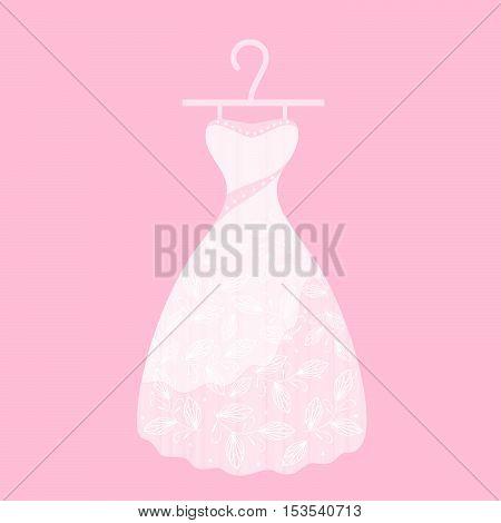 Stylish women's dress on a pink background.