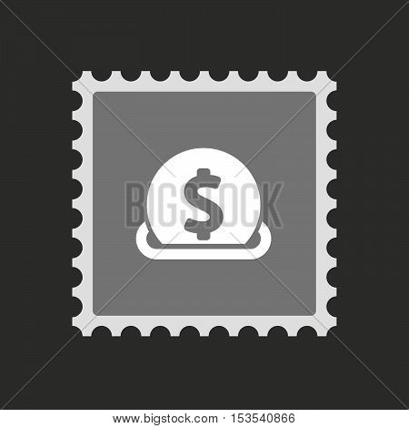 Isolated Mail Stamp Icon With  A Dollar Coin Entering In A Moneybox