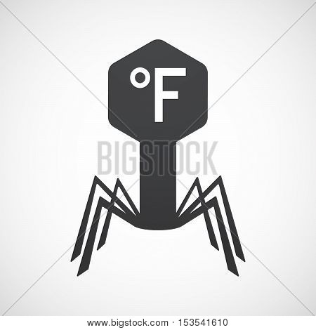 Isolated Virus Icon With  A Farenheith Degrees Sign