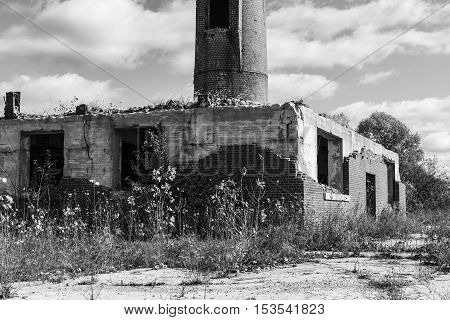 Abandoned Factory with Brick Smokestack and the Remnants of the Power Plant I