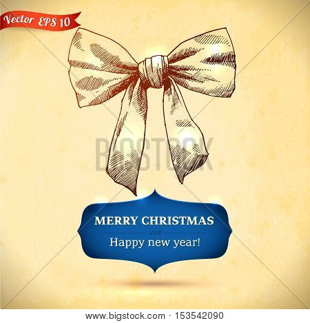 Christmas and New year holidays vector hand drawn illustration on paper background.