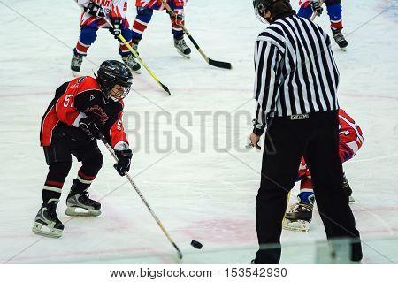 Tyumen, Russia - January 27, 2007: Hockey tournament Sweet tooth-99. Game between Metallurg Magnitogorsk and Avangard Omsk