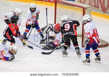 Tyumen, Russia - January 27, 2007: Hockey tournament Sweet tooth-99. Game between Metallurg Magnitogorsk and Avangard Omsk. Game near gate