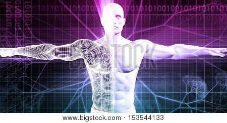 Digital Anatomy with Technology Theme Concept as Art 3d Illustration Render