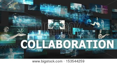 Collaboration Presentation Background with Technology Abstract Art 3d Illustration Render