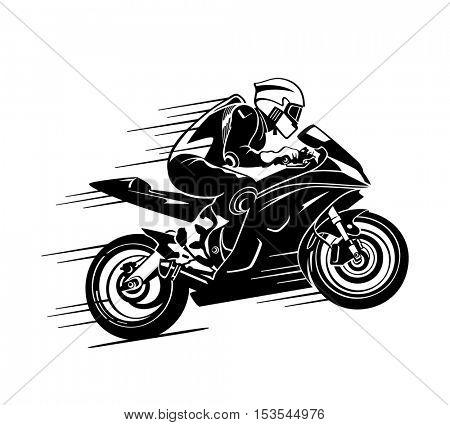 Speedy motor biker at the race silhouette