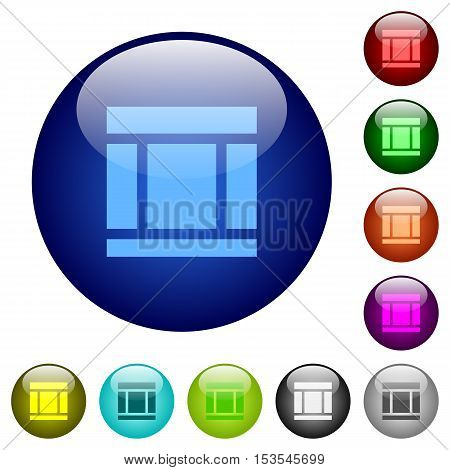 Three columned web layout icons on round color glass buttons
