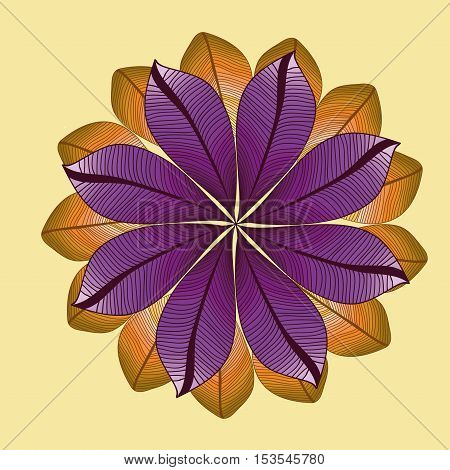 Vector pattern with degrade leaves. Mandala with leaves. Autumn pattern. Foliage