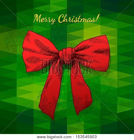 Merry Christmas Illustration Hand Drawn Bow Triangle Background.