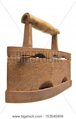 Old vintage Russian Soviet rusty iron isolated on a white background.