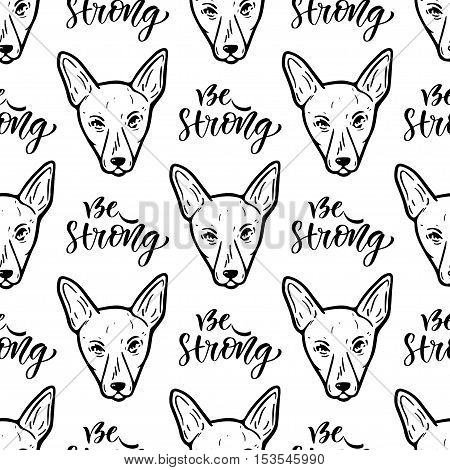 Seamless vector pattern with dogs. Wrapping paper or packaging design for pets shop. Be strong calligraphic text.