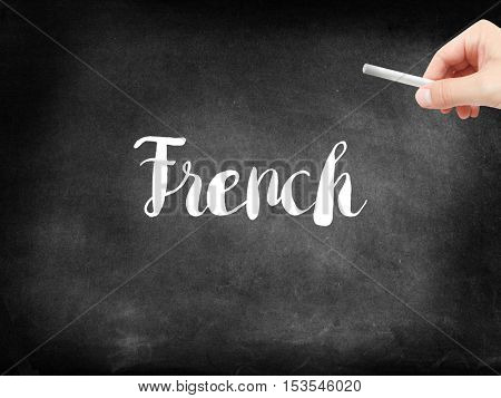 French written on a blackboard