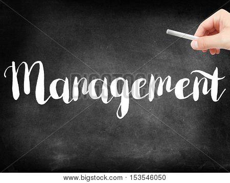 Management written on a blackboard