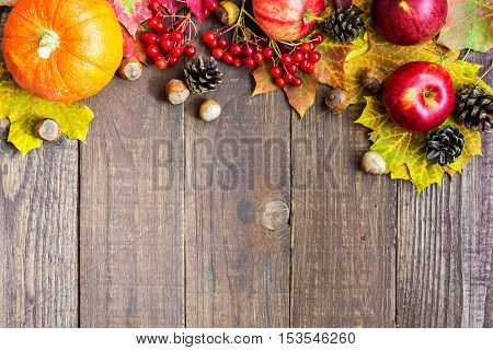 autumn fruit and vegetables background. thanksgiving seasonal fruits vegetables and berries with copy space