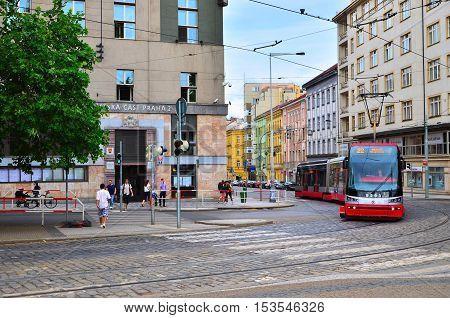 Prague Czech Republic - July 8 2015. One of the symbol of Prague - red modern tram in Prague 2.