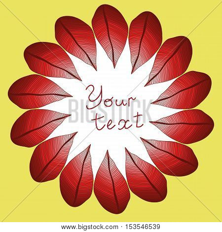 vector red degrade leaves - round pattern. Leaves frame. Foliage.