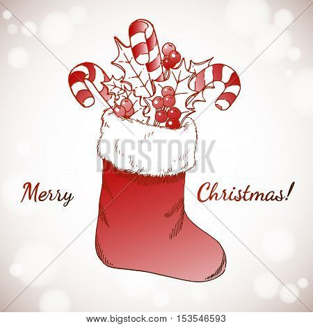 Merry Christmas and Happy New Year holidays vector hand drawn illustration with bright xmas decoration on White Background.
