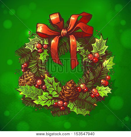 Merry Christmas and Happy New Year holidays vector hand drawn illustration with bright xmas decoration on Green Background