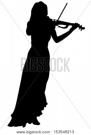 Woman with a violin in his hand on white background