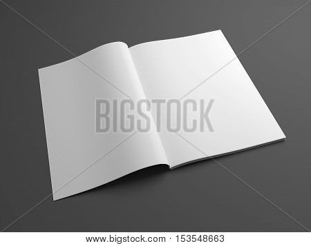 Blank open magazine mock up with two pages showing. 3D illustration template brochure with blank cover.