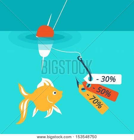Vector illustration, which depicts the concept of attracting customers discounts and sales. For example, use image fish, floating lure.