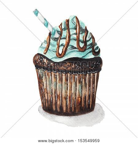Chocolate and mint cupcake. Watercolor illustration on white isolated background