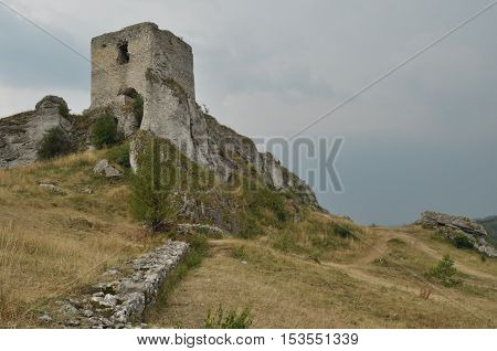 Castle in Olsztyn. Poland. Walls towers and the ruins of the royal castle.