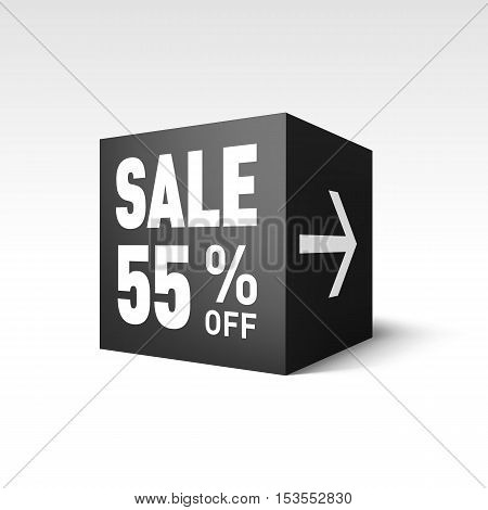 Black Cube Banner Template for Holiday Sale Event. Fifty-five Percent off Discount