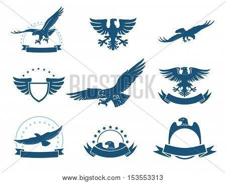 Set of black and white eagles emblems