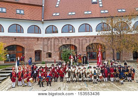 TIMISOARA ROMANIA - OCTOBER 162016:Medieval soldiers at the bastion Maria Theresa.Show organized by City Hall Timisoara to celebrate the 300 years since the entry of Eugene of Savoy into the fortress