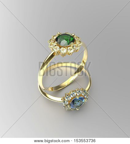 Stylish Ring with Diamond. Fashion Jewelry. 3D illustration