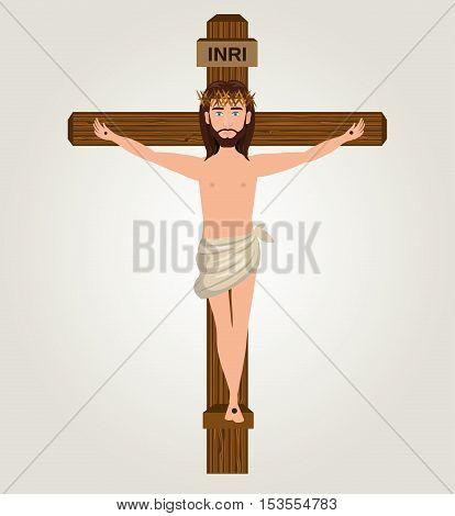 Jesus christ crucified cross desing vector illustration eps 10