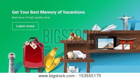 Vector illustration of loading page web site to provide tourist services