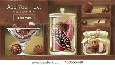 Vector illustration of a wooden rack with chocolate, a template for the loading of the page web site