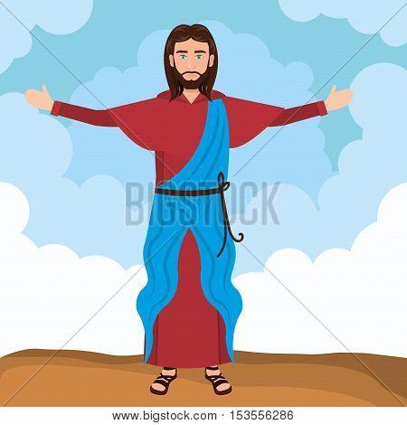 Jesus christ religion resurrected design vector illustration eps 10