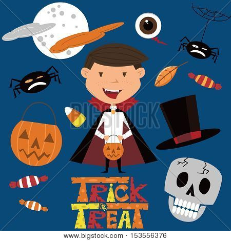 Vector set with boy in vampire costume and Halloween objects. Holidays icon set with candies.