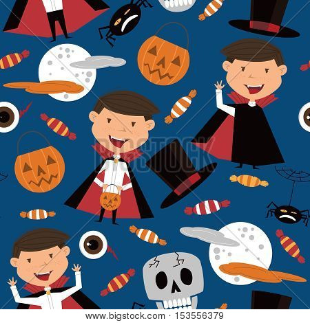 Vector seamless pattern with boy in vampire costume and Halloween objects. Halloween background with kids and candies.