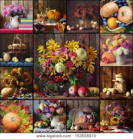 Collage from still lifes with autumn flowers and fruits. Autumn background. Packing advertizing calendar. Autumn mood.