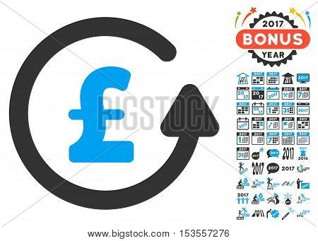 Chargeback Pound icon with bonus 2017 new year graphic icons. Vector illustration style is flat iconic symbols, modern colors.