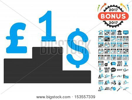 Dollar Pound Competition pictograph with bonus 2017 new year design elements. Vector illustration style is flat iconic symbols, modern colors.