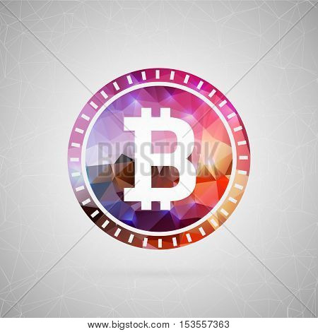 Abstract creative concept vector icon of bitcoin. For web and mobile content isolated on background, unusual template design, flat silhouette object and social media image, triangle art origami.