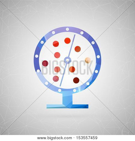 Abstract creative concept vector icon of lottery drum. For web and mobile content isolated on background, unusual template design, flat silhouette object and social media image, triangle art origami.