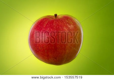 one red apple on green background. Studio photography