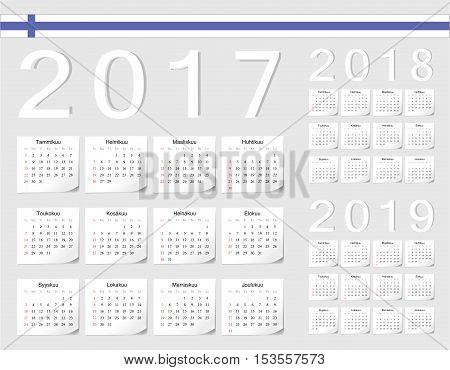 Set Of Finnish 2017, 2018, 2019 Vector Calendars